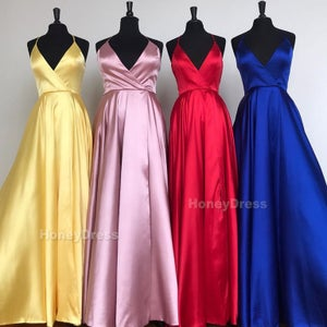 Image of Royal Blue V-Neck Side Slit Long Prom Dress, Spaghetti Strap Formal Gown With Sweep Train Pockets