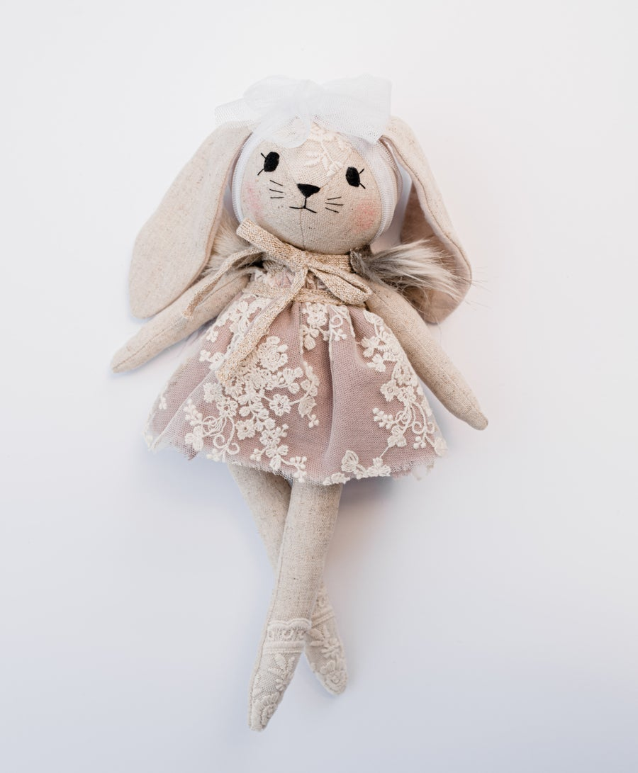 Image of Bunny with lavender lace dress