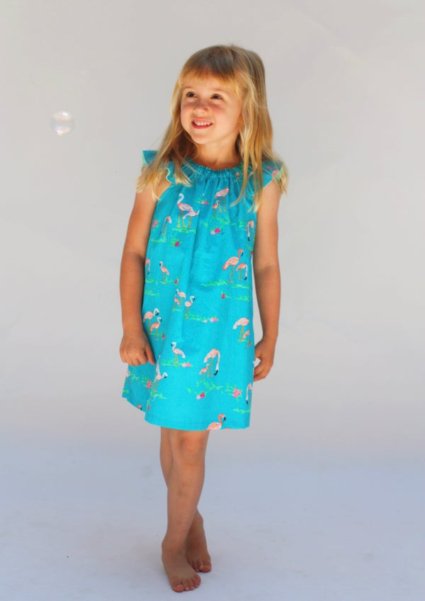 Image of Flutter Sleeve Dress in Flamingo Paradise
