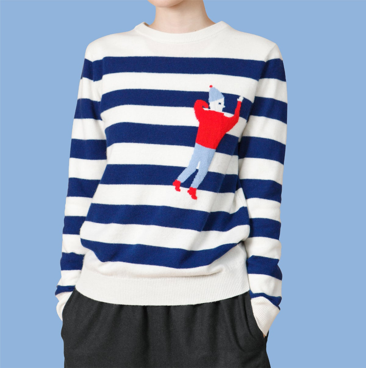 Image of Crew Neck Intarsia Wool and Cashmere Blend Sweater - White/Navy