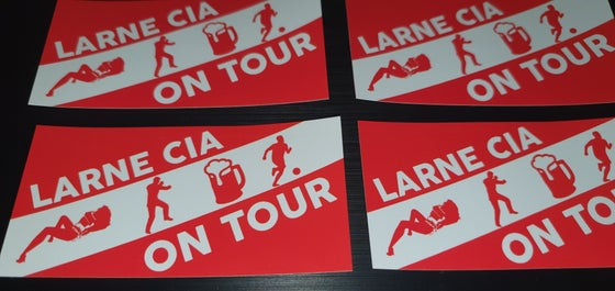 Image of Larne Casual Inver Army CIA on tour pack of 25 10x5cm football casuals/ultras stickers.
