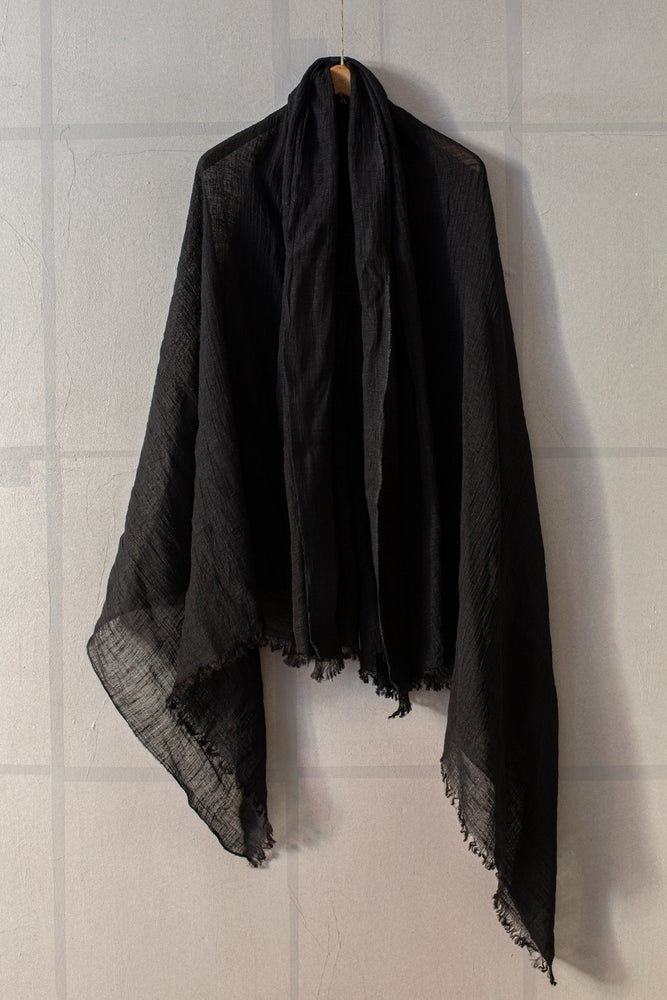 Image of Large lightweight black semi sheer silk scarf by Mittan