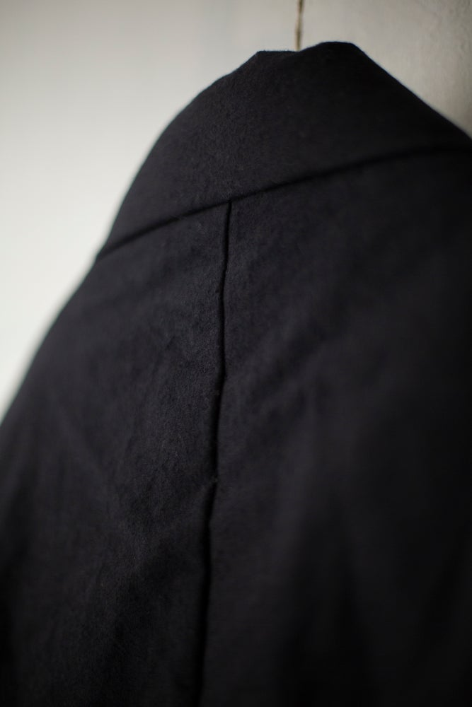 Image of BLACK FUTON PADDED KIMONO COAT by MITTAN