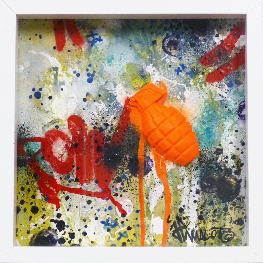 Image of SCULPTURE POW! Grenade 'Orange' in frame! 2019 TOP!