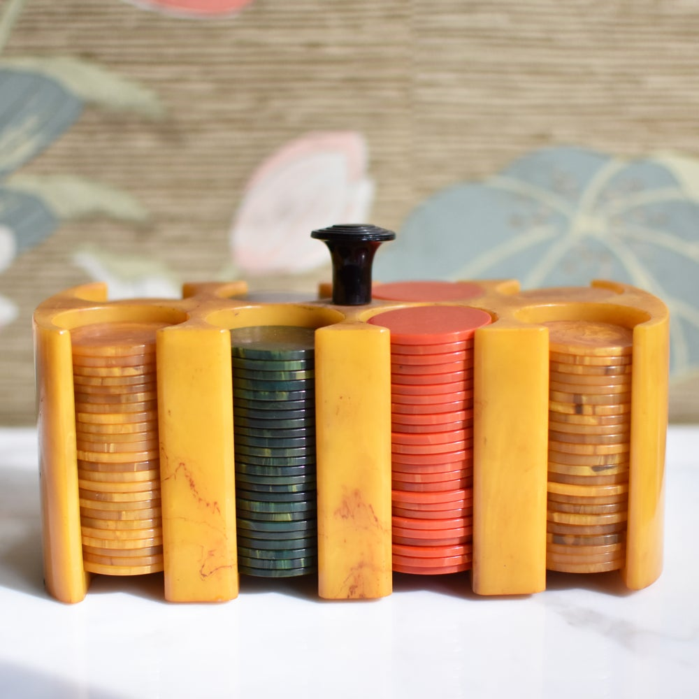 Image of Vintage Bakelite Poker Chip Set with Caddy
