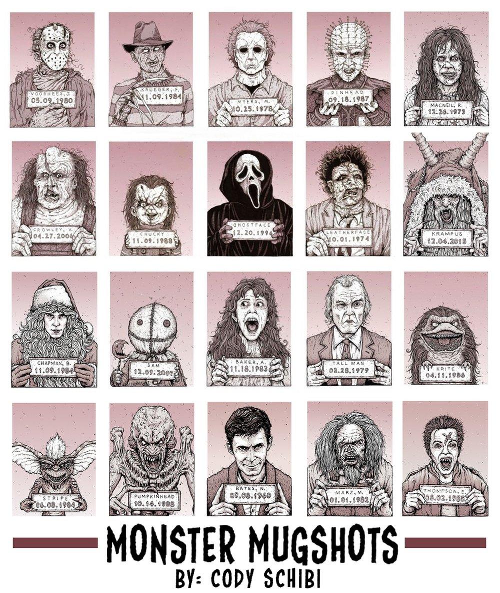 'Monster MugShots' Individual prints or Complete Set!