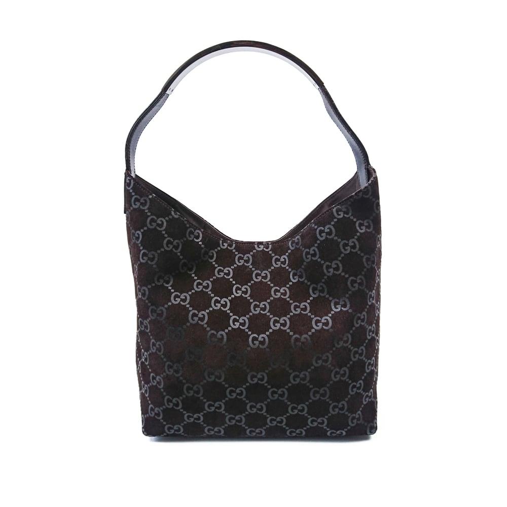 Image of Gucci Suede Monogram Hobo Bag