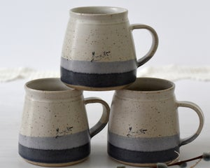 ceramic mug with hare - blue and white illustrated pottery