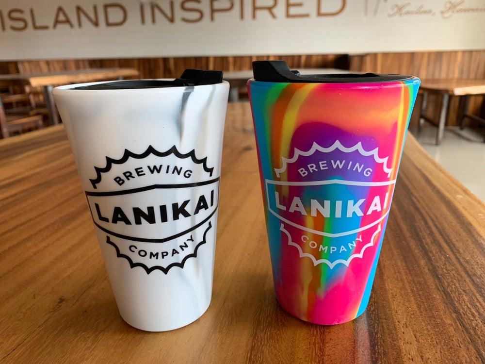 Image of 2 Beachbuddy silicone pint glasses with Lids