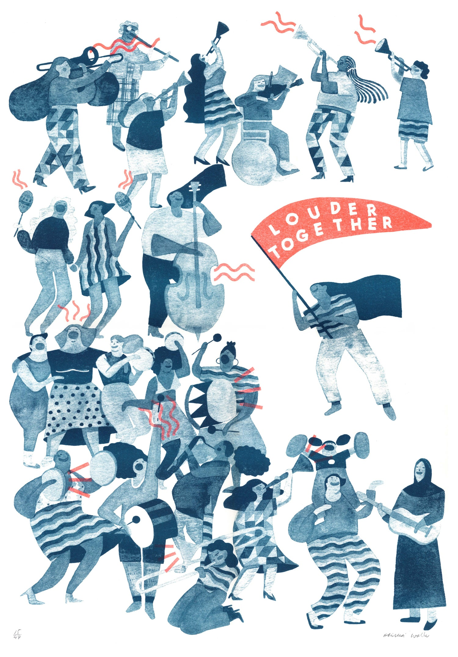 Image of 'Louder Together' riso print in teal
