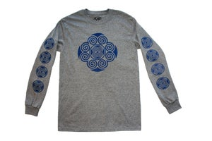 "Image of ""Medallion"" Tribal Long Sleeve Tee (White & Graphite Heather with Royal Blue Print)"