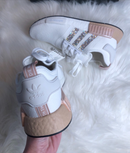Image of Swarovski Adidas NMD Runner Casual Shoes White/Ash Pearl customized with Swarovski Crystals.