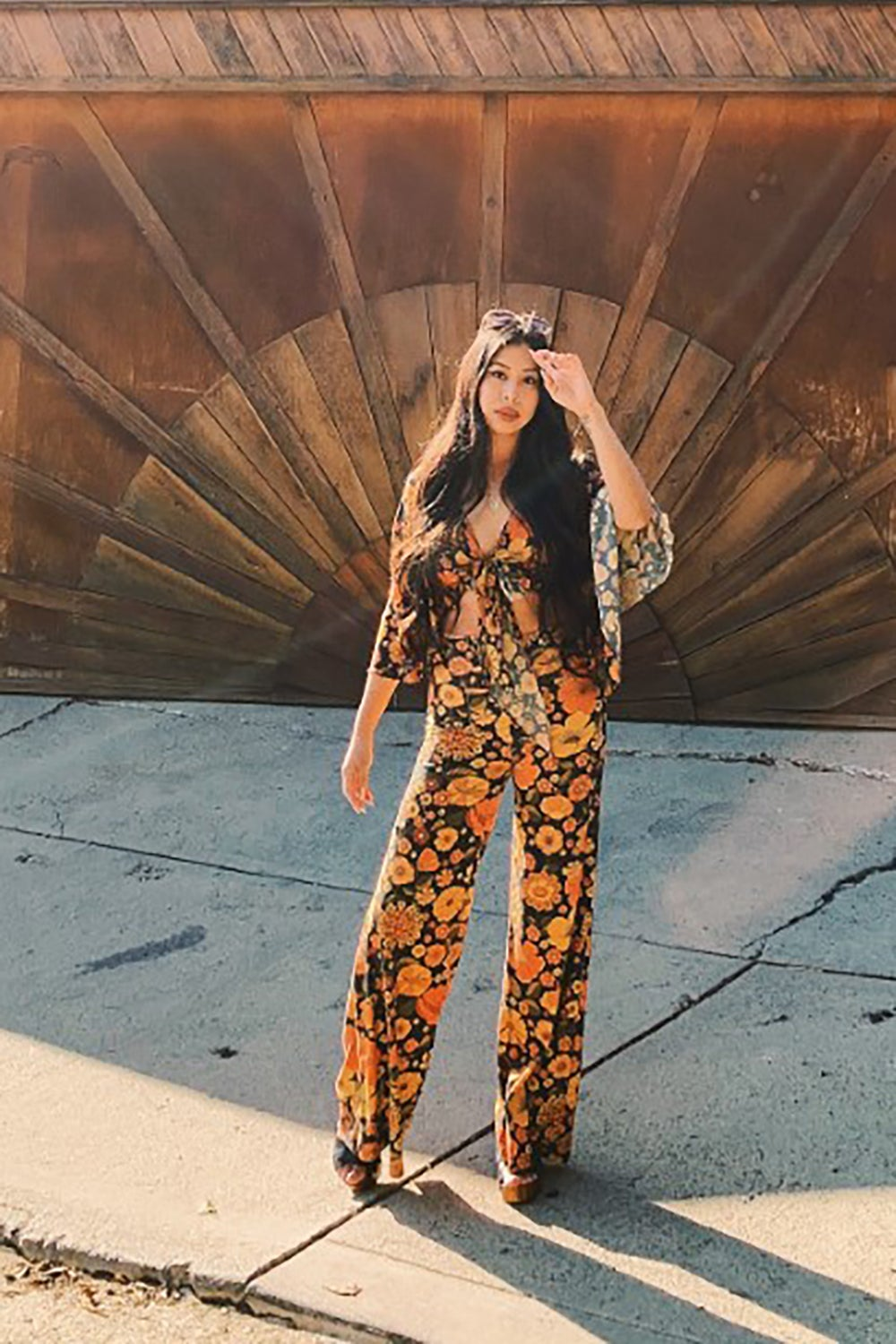 Right on Flares in Bloom n Groovy Print burnt orange