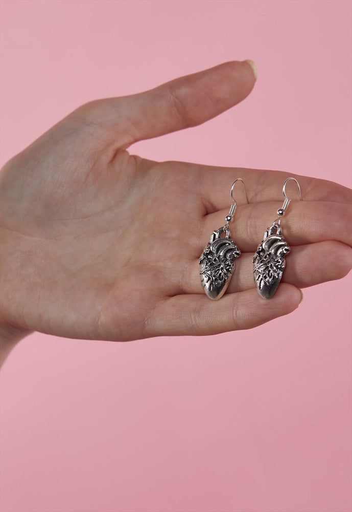 Image of Silver Plated Anatomical Heart Hooked Earrings