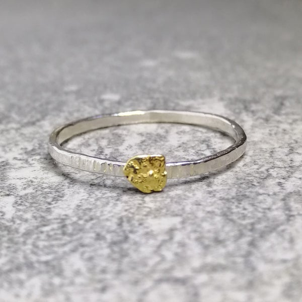Image of Sterling silver ring with natural fine gold nugget