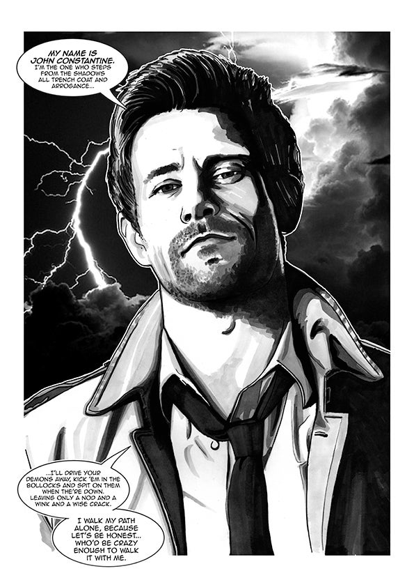 Image of John Constantine Comic Style Illustration Signed A3 Print