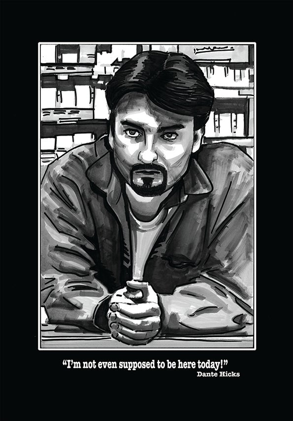 Image of Clerks Dante Comic Style Illustration Signed Print