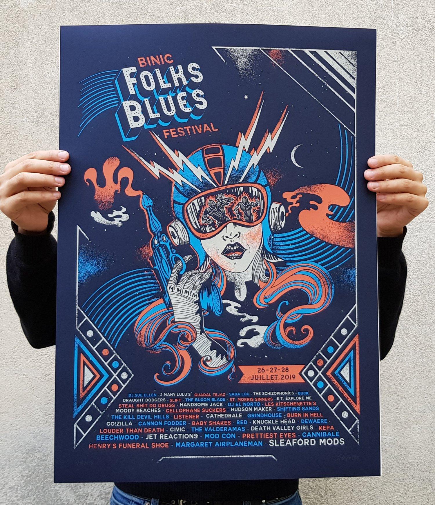 Image of BINIC FOLK BLUES festival 2019 (screenprinted poster)