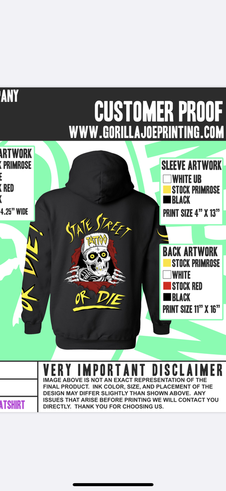 Image of State street or die zip up  hoodie