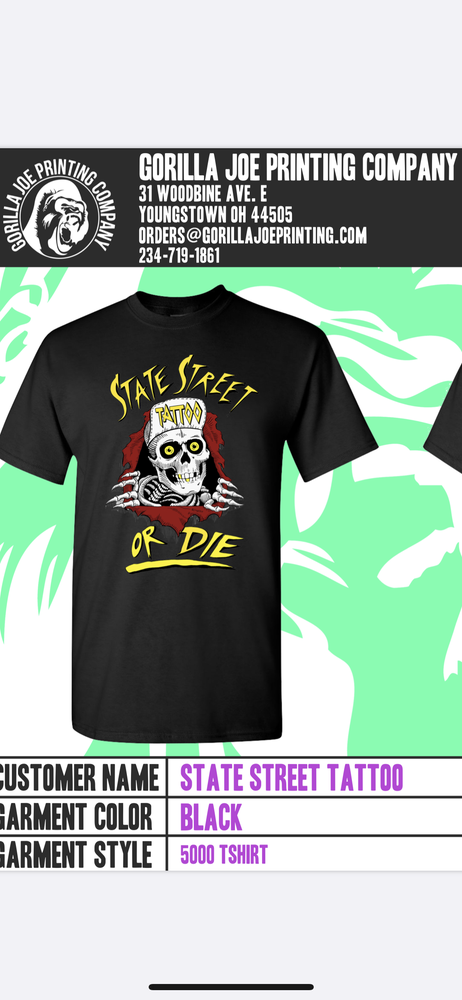 Image of State street or die T shirt