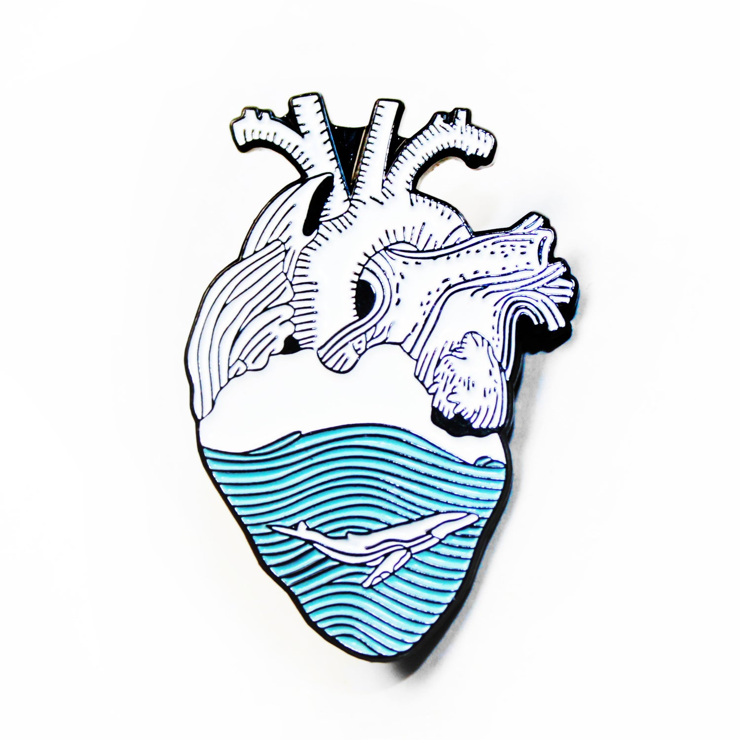 Image of whale heart pin