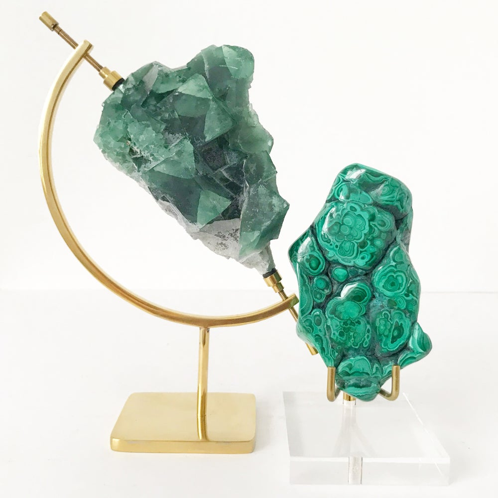 Image of Malachite no.31 + Lucite and Brass Stand Pairing