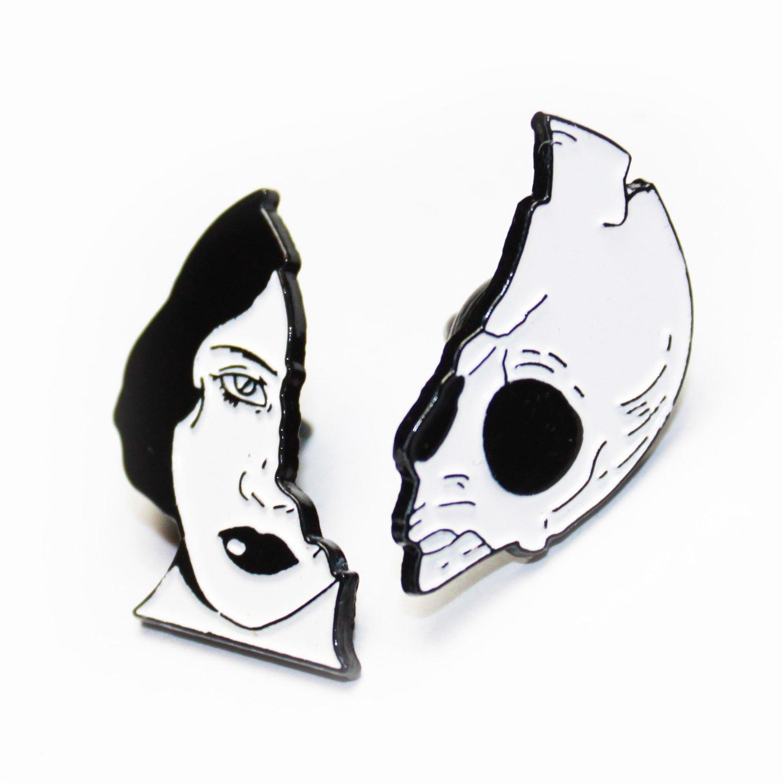 Image of skull lady pin pair