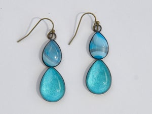 Image of double drops teardrop earring - aqua blue with blue agate