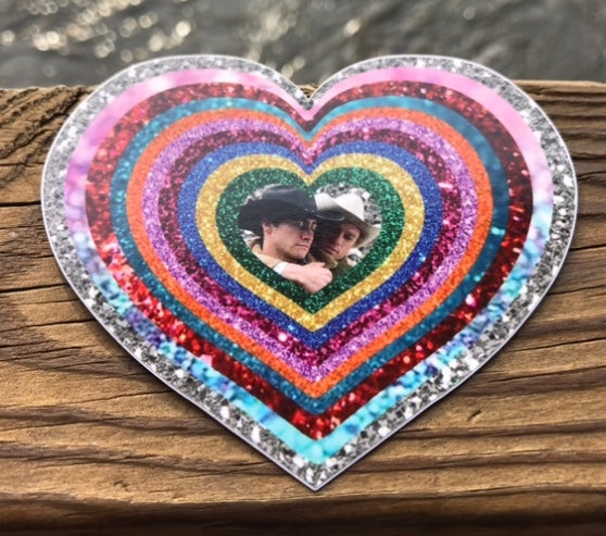Image of Broke Back Rainbow Glitter Heart 4inch Sticker