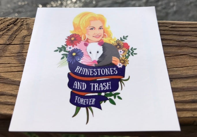 Image of Dolly Parton Rhinestones & Trash Sticker 4 inch