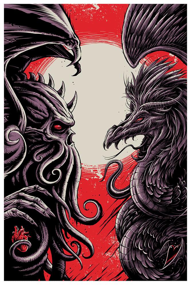 Image of Cthulhu Vs Quetzalcoatl Fine Art Print