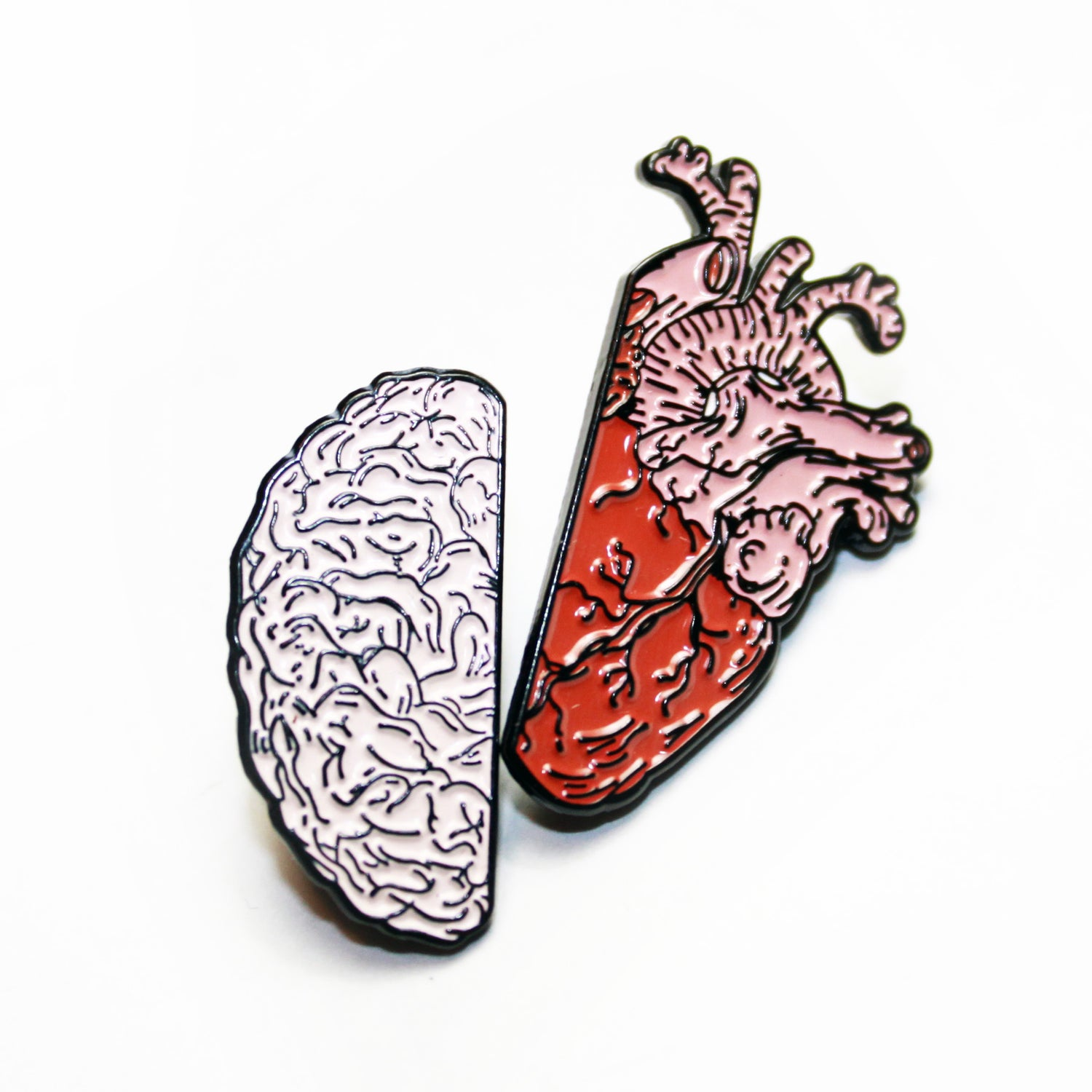 Image of brainheart pin pair