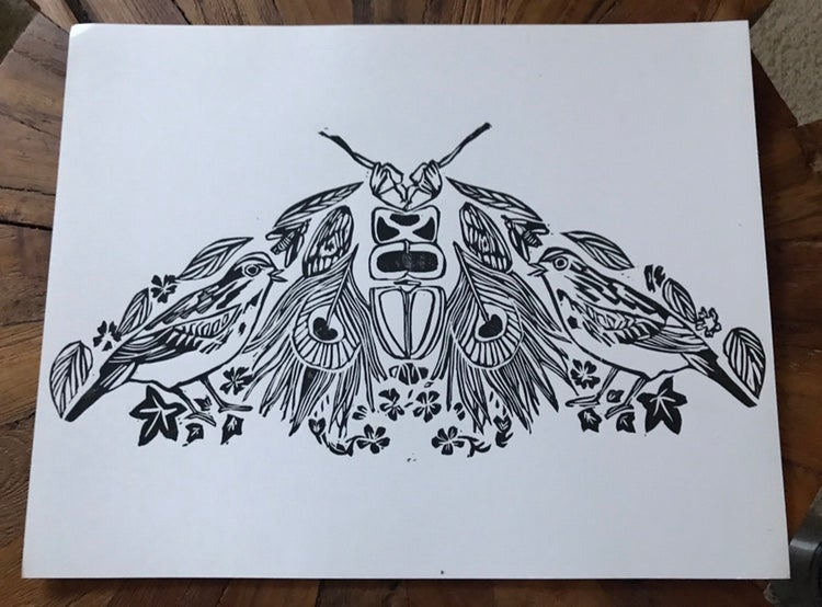 Image of Deconstructed Moth Carving 11x 14 Prit