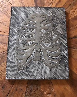 Image of Blooming Ribcage Carving Print 8x10