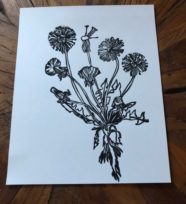 Image of Dandelion Lifecycle Carving Print 8x10