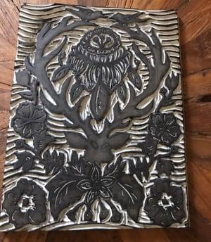 Image of Deer Damask Carved Print 8x10