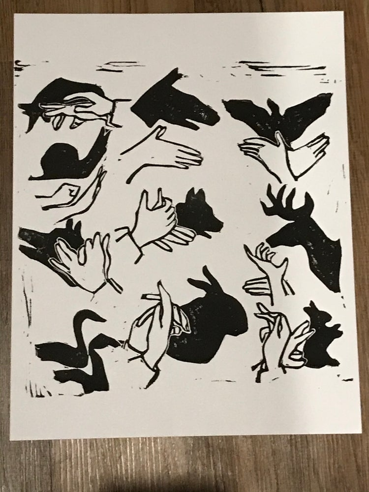 Image of Shadow Hand Puppets Carved Print 11x14