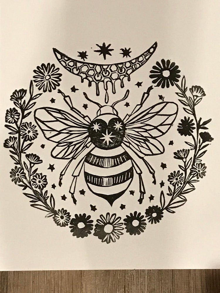 Image of Bee Scared Geometry Carving Print 11 x 14