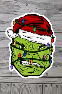 Image of Holiday Hulk 3x3 sticker