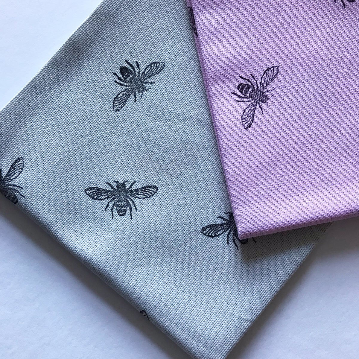 Image of MANCHESTER BEE TEA TOWEL 2 PACK IN PINK + GREY