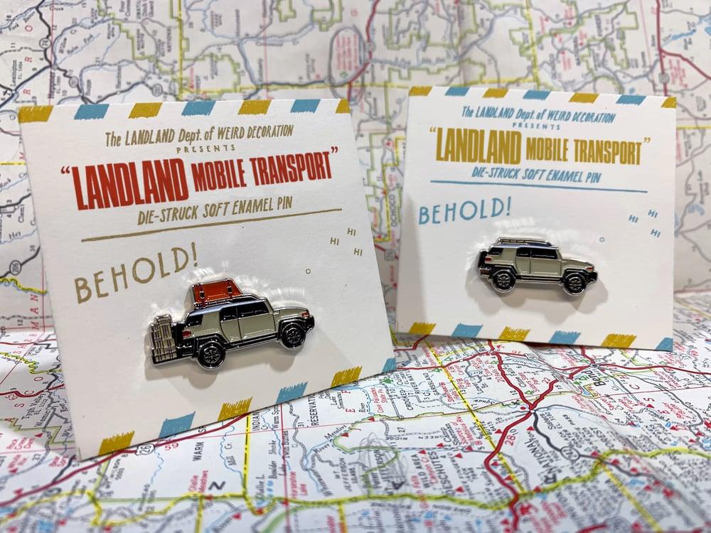 """LANDLAND Mobile Transport"" FJ Cruiser Enamel Pins"