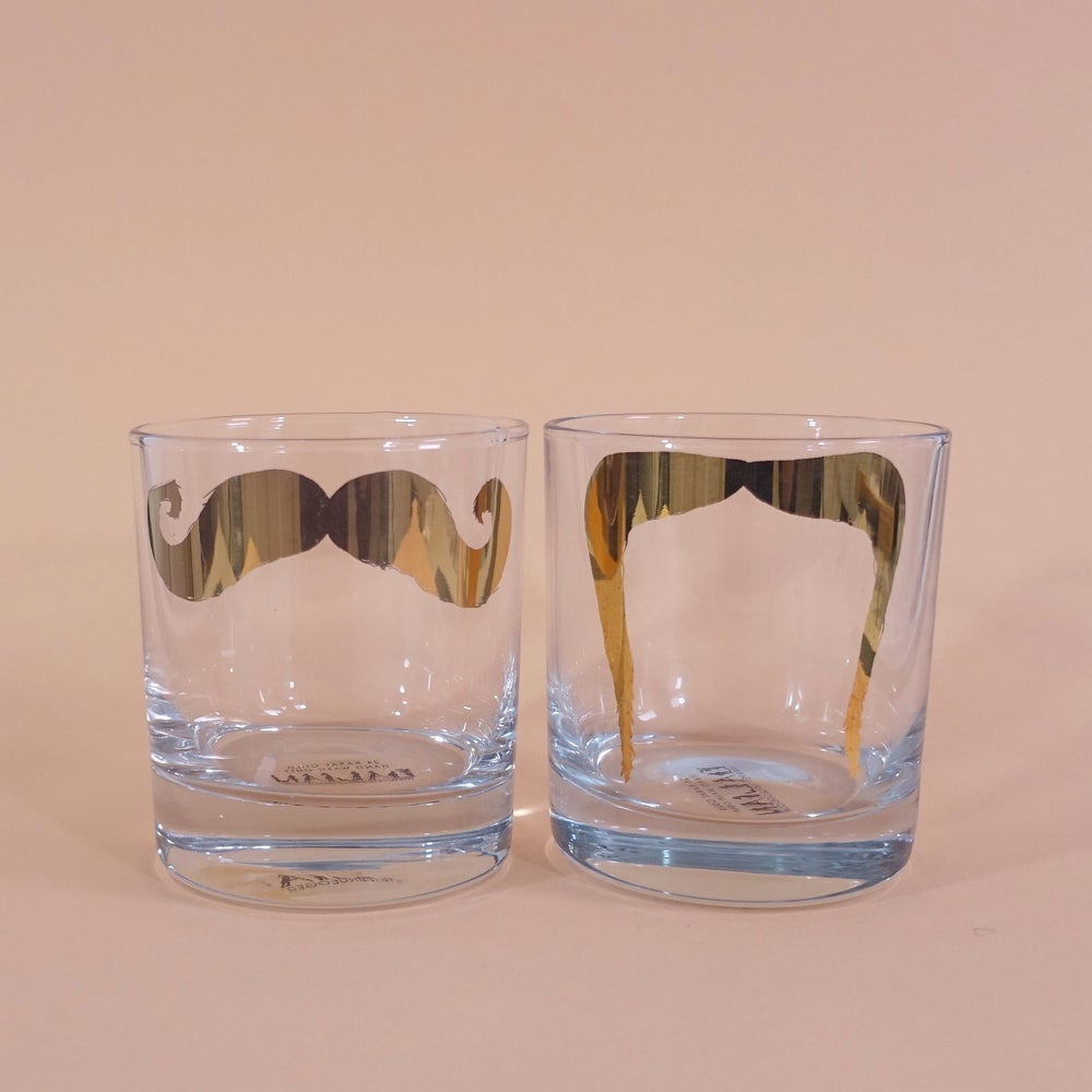 Image of Inspector Poirot & Fu Manchu Golden Moustache Tumbler - Set of 2