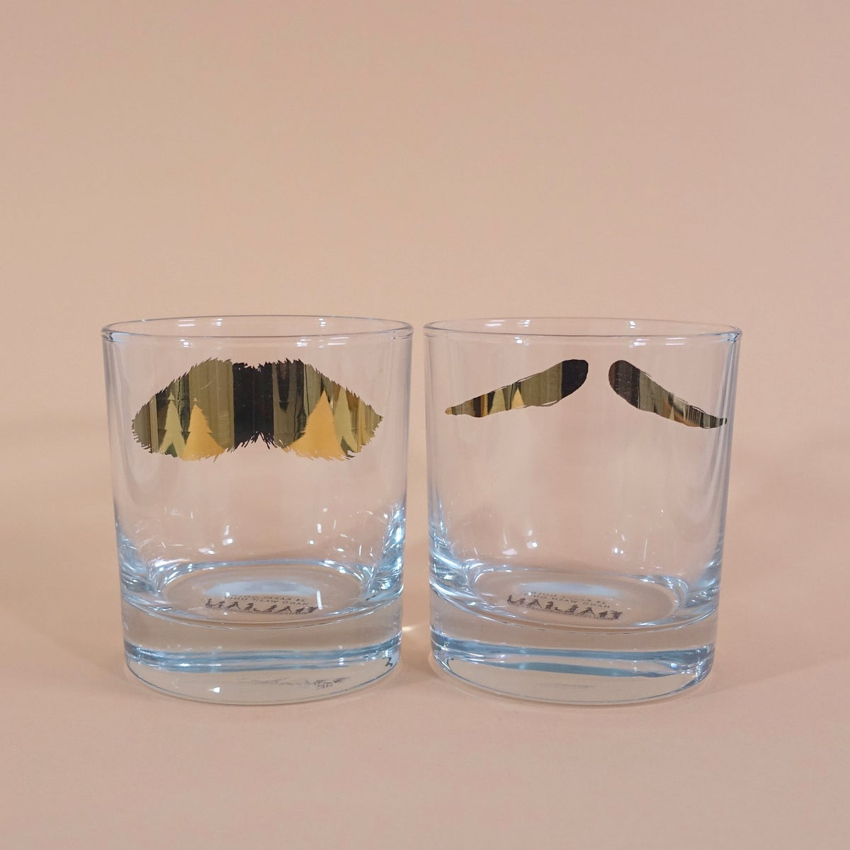 Image of Mustafa & Maurice Golden Moustache Tumbler - Set of 2