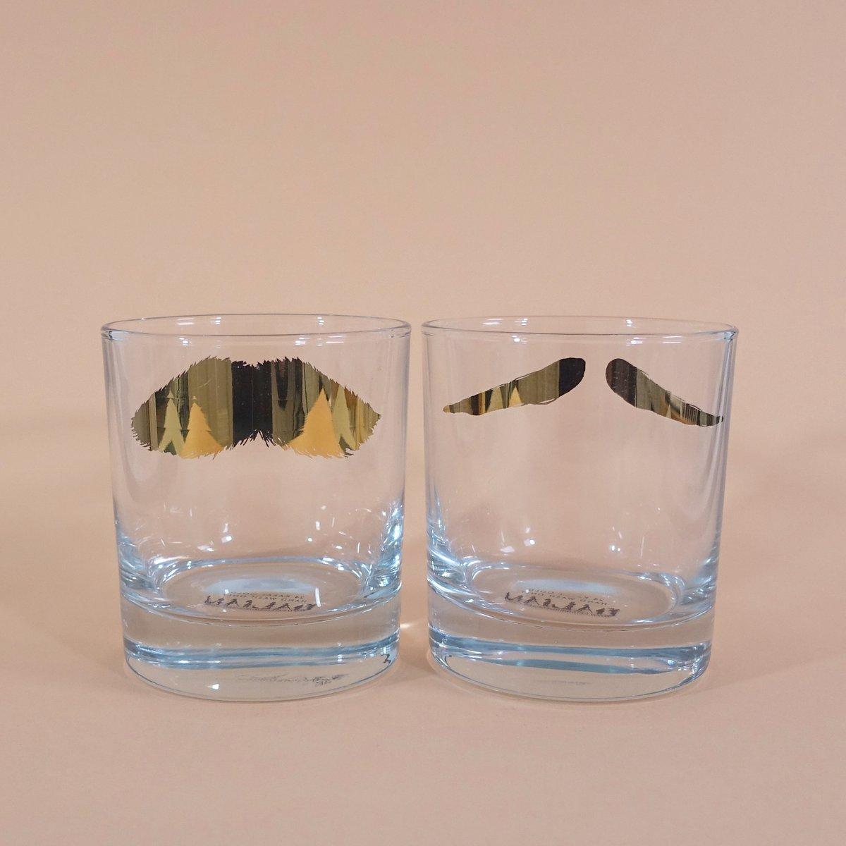 Image of Mustafa & Maurice Golden Moustache Tumbler - Set of 2