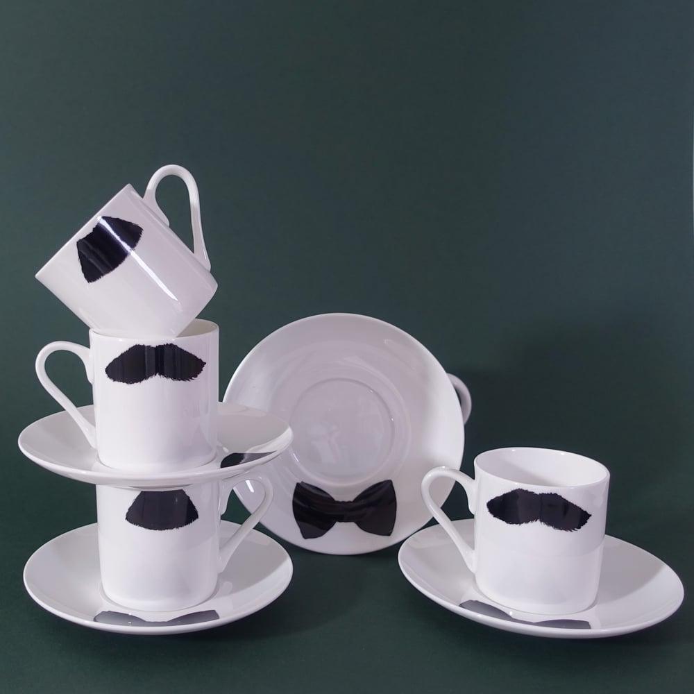 Image of Charlie Chaplin & Mustafa Moustache Mug Moustache Espresso Cup & Saucer - Set Of 4