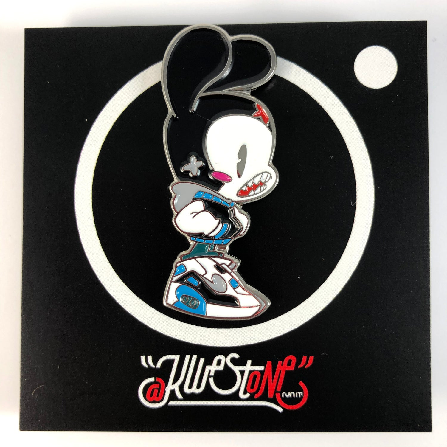 Image of LASER BLUE BUNNY ENAMEL PIN