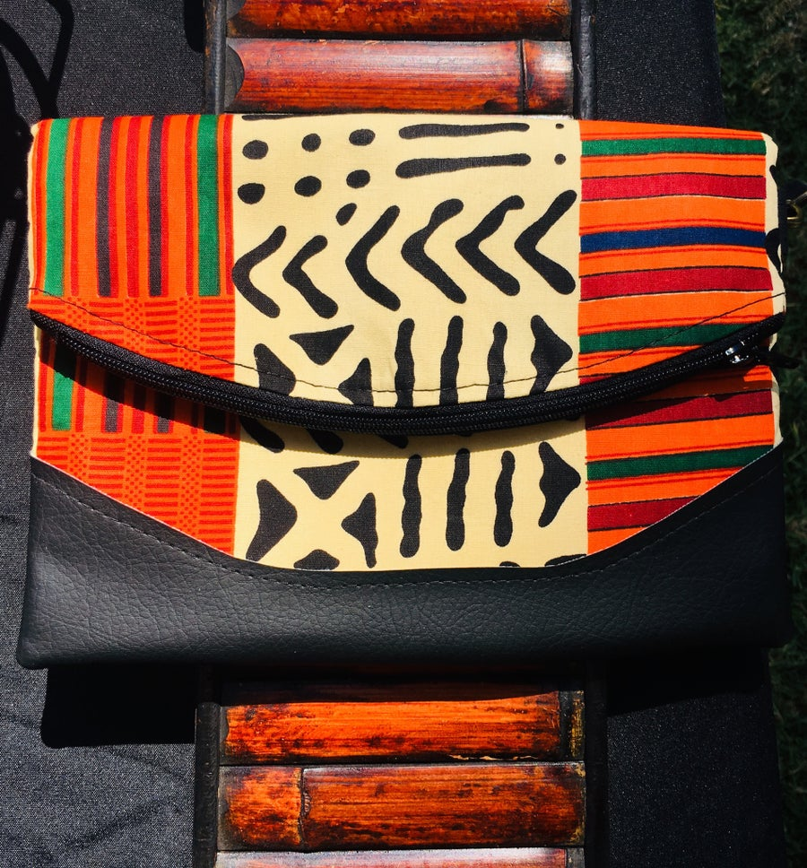 Image of Designs By IvoryB Crossbody Heidi Orange Ankara African Print