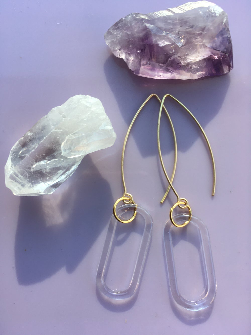 Image of Single link Crystal Clear Earrings
