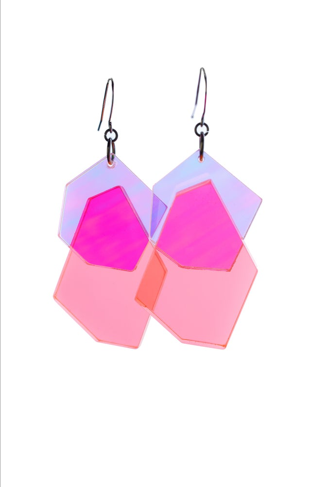 Image of ColorPop Earrings in Iridescent Neon Coral
