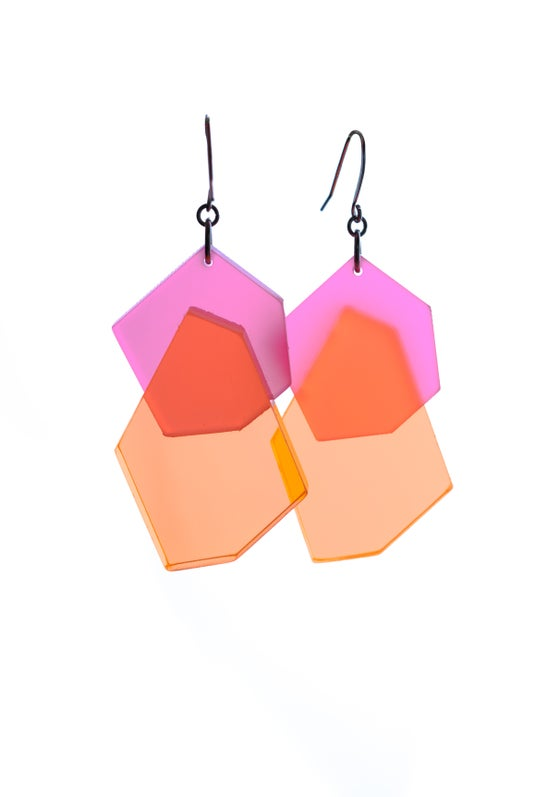 Image of ColorPop Earrings in Rosey Neon Tangerine